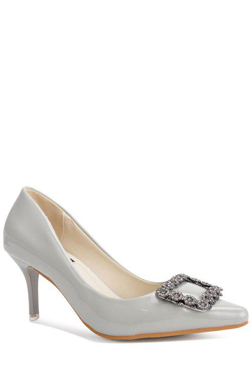 Stylish Square Buckle and Solid Color Design Women's Pumps - GRAY 38
