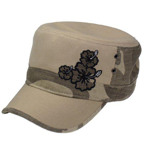 Chic Flower Embroidery Camouflage Pattern Women's Military Hat - KHAKI