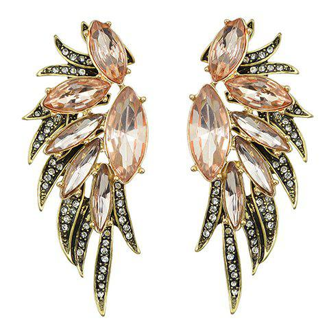 Pair of Rhinestoned Faux Crystal Oval Shape Earrings - PINK
