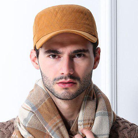 Stylish Solid Color Winter Gingham Military Hat For Men - EARTHY