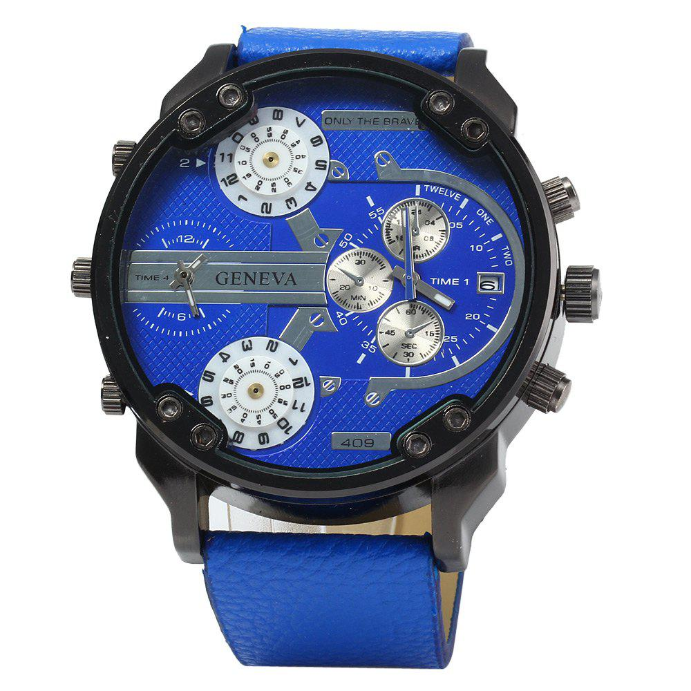 Geneva 409 Decorative Sub-dials Four Movt Quartz Watch for Men - BLUE