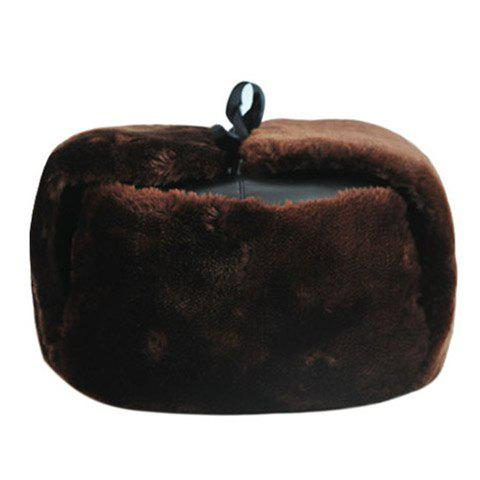 Stylish Faux Fur Lace-Up Thicken PU Trapper Hat For Men - COFFEE