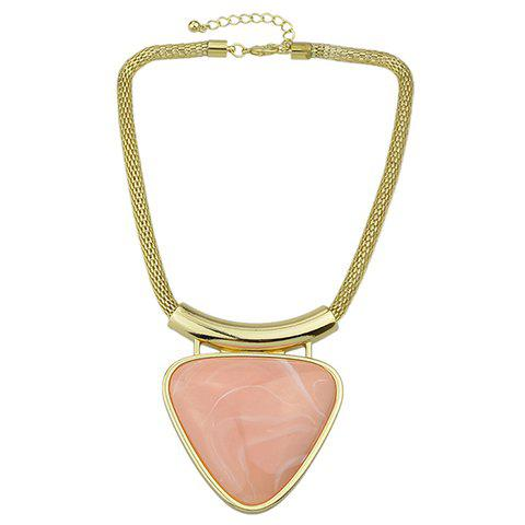 Faux Gemstone Triangle Pendant Necklace - PINK