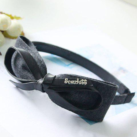Pair of Dolce Bowknot Shape Letter Hairband For Women - GRAY
