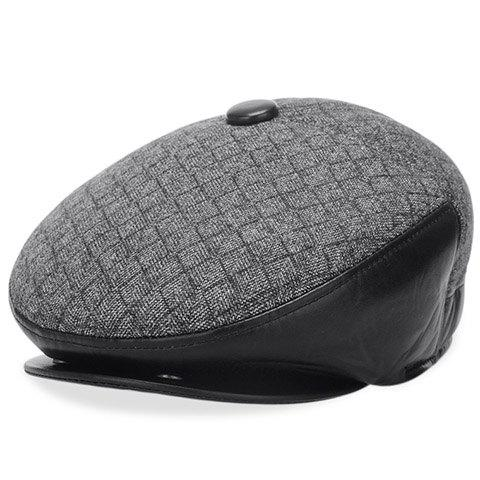 Stylish PU Matching Winter Gingham Beret For Men - GRAY