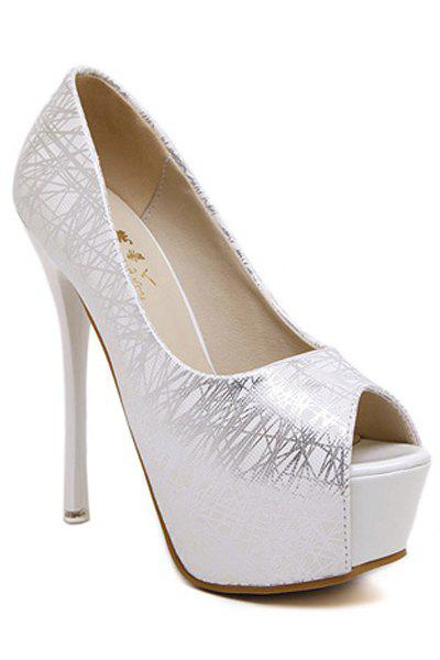 Party Lines and Stiletto Heel Design Women's Peep Toe Shoes - SILVER 34
