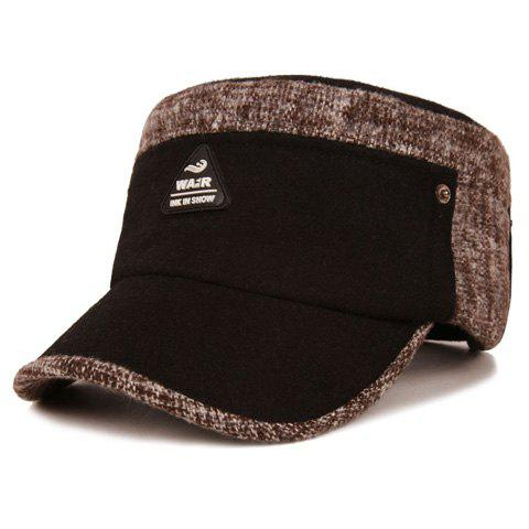 Stylish Triangle Rubber Label Embellished Color Block Military Hat For Men - BLACK