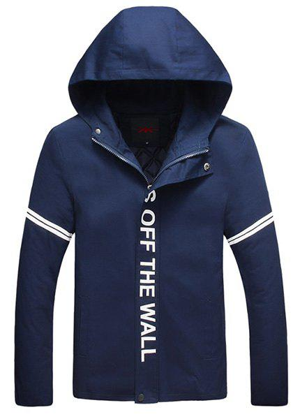 Stripe Letters Print Hooded Long Sleeve Thicken Men's Jacket - CADETBLUE M