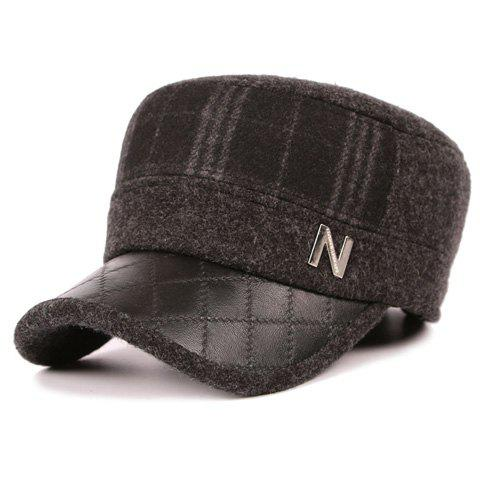 Stylish Letter N Shape Embellished PU Brim Military Hat For Men - SMOKY GRAY