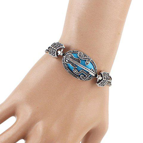 Rhinestone Music Note Guitar Shape Hollow Out Bracelet - BLUE