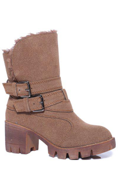 Trendy Double Buckles and Stitching Design Women's Short Boots - BROWN 35