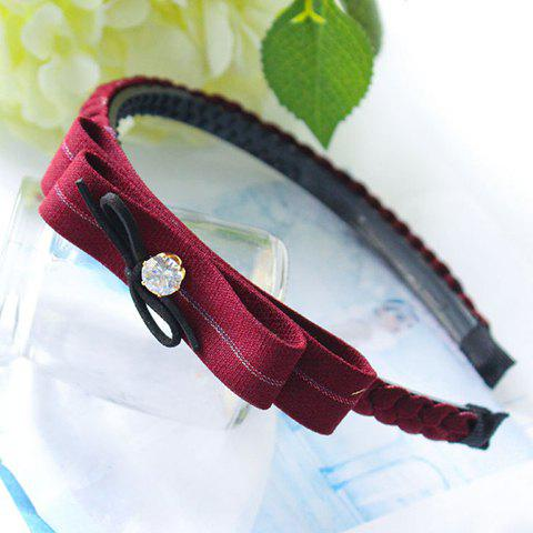 Pair of Dolce Bowknot Shape Faux Crystal Hairband For Women - WINE RED