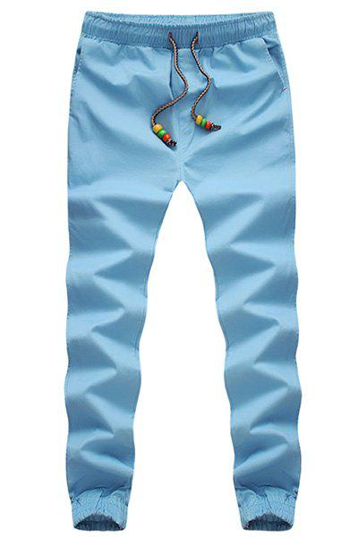 Beading Design Lace-Up Solid Color Beam Feet Slimming Men's Pants - WATER BLUE M