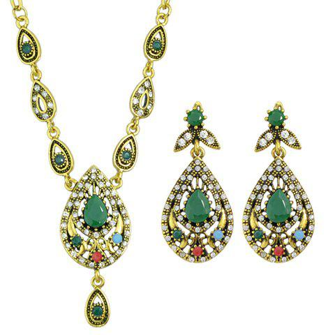 A Suit of Retro Rhinestone Water Drop Necklace and Drop Earrings - GREEN