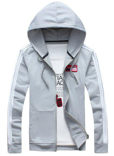 Hooded Flag Applique Long Sleeve Solid Color Men's Hoodie - GRAY L