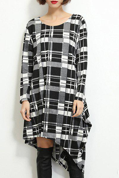 Simple Style Scoop Neck Long Sleeve Plaid Printed Asymmetric T-Shirt Dress For Women