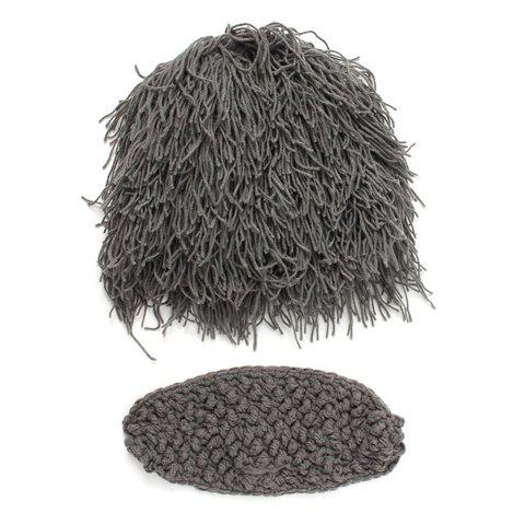 Stylish Faux Wig Shape Knitted Beanie and Face Mask For Men - GRAY