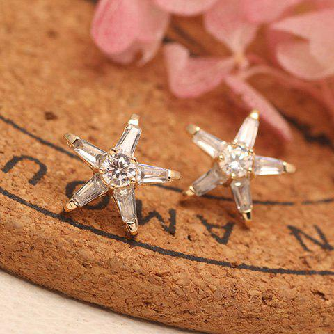 Pair of Cute Rhinestone Pentagram Shape Earrings For Women - GOLDEN