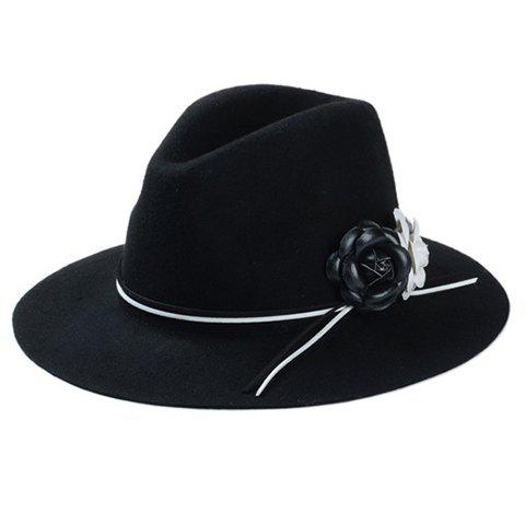 Chic White and Black Flowers Embellished Felt Jazz Hat For Women