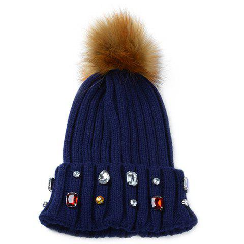 Chic Faux Gem and Downy Ball Embellished Women's Knitted Beanie - CADETBLUE