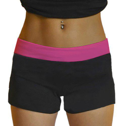 Yoga Shorts Style Active taille élastique noir skinny femmes - Rose ONE SIZE(FIT SIZE XS TO M)