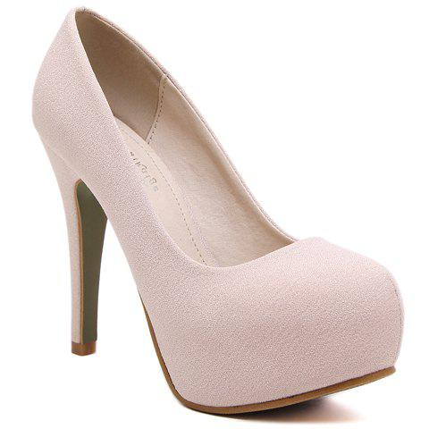 Fashionable Suede and Round Toe Design Pumps For Women - APRICOT 38