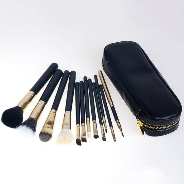 Professional 12 Pcs Wool Makeup Brushes Set with Zippered Brush Bag - BLACK