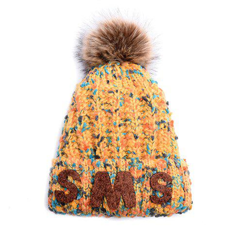 Chic Letter Shape and Faux Fur Ball Embellished Mix Color Knitted Beanie For Women - YELLOW