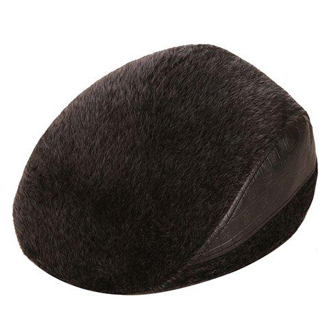 Stylish Faux Fur Matching PU Men's Winter Beret - BLACK GREY