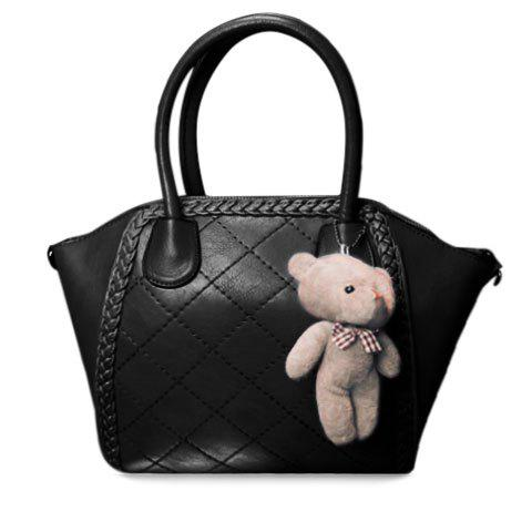 Fashion Weaving and Checked Design Tote Bag For Women - BLACK
