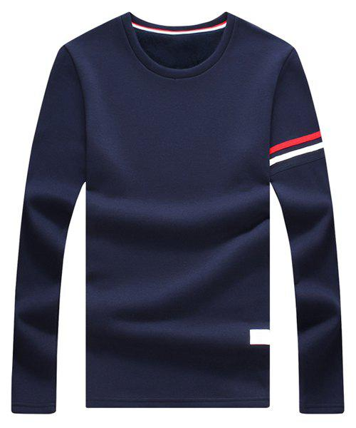 Colorful Selvedge Embellished Round Neck Long Sleeve Fleece Thicken Men's T-Shirt