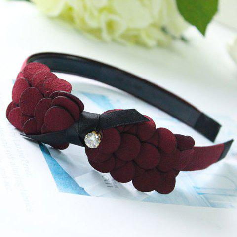Stylish Faux Crystal Bowknot Hairband For Women - WINE RED