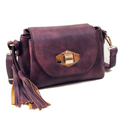 Trendy Hasp and Tassels Design Crossbody Bag For Women - PURPLE