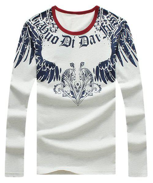 3D Wing and Heart Print Round Neck Long Sleeve Men's T-Shirt - GRAY 2XL