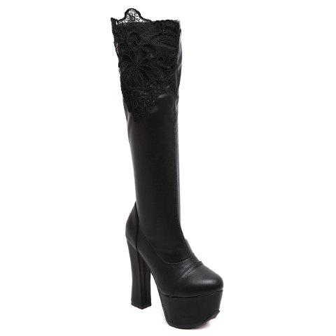 Sexy Lace and Black Design Women's High Heel Boots - BLACK 34
