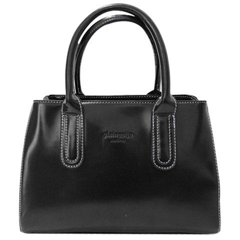 Retro Style Stitching and Patent Leather Design Women's Tote Bag
