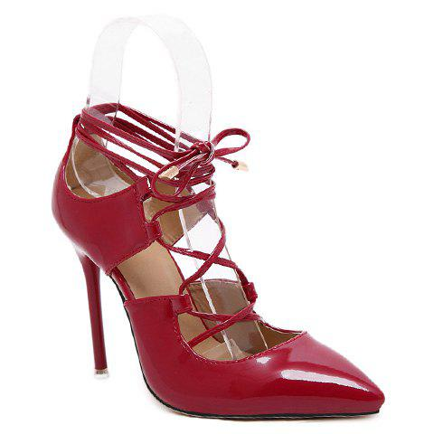 Party Pointed Toe and Lace-Up Design Pumps For Women - RED 36