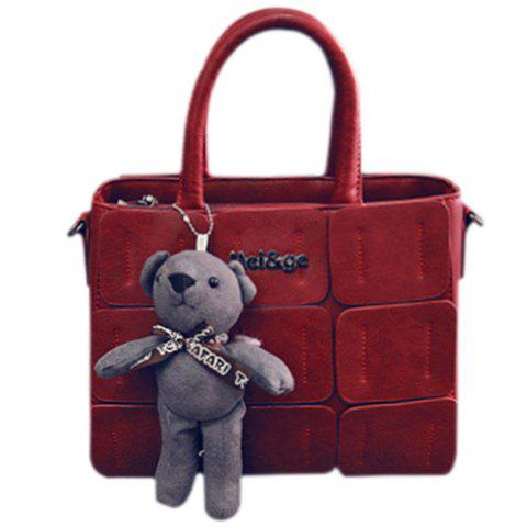 Trendy Bear Cub and PU Leather Design Tote Bag For Women - RED