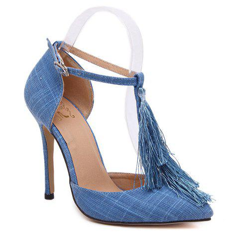 Sexy T-Strap and Tassel Design Pumps For Women - LIGHT BLUE 38