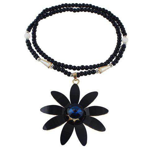 Chic Faux Gemstone Blossom Beads Sweater Chain For Women - BLACK