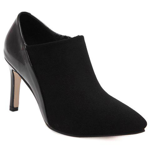 Fashionable Splicing and Pointed Toe Design Women's Ankle Boots - BLACK 38