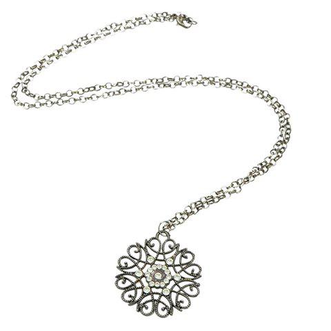 Stylish Rhinestone Carving Pattern Hollow Out Sweater Chain For Women