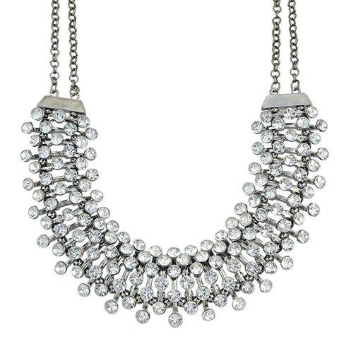 Chic Rhinestoned U-Shaped Hollow Out Necklace For Women - GUN METAL