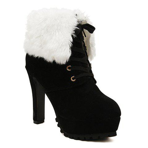 Fashionable Faux Fur and Lace-Up Design Women's Ankle Boots - BLACK 38