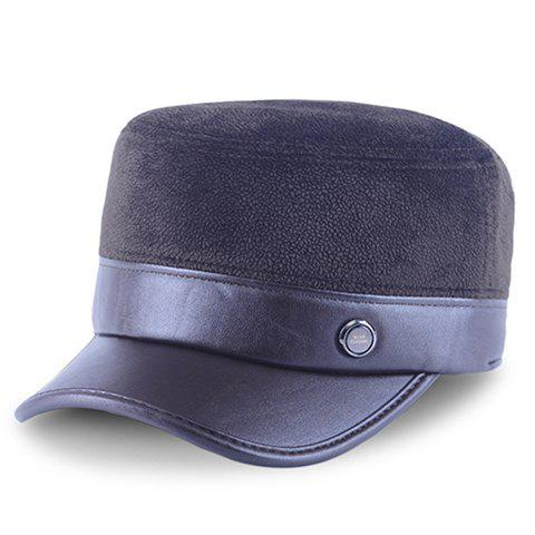 Stylish Button Embellished PU Matching Fleeces Military Hat For Men - COFFEE