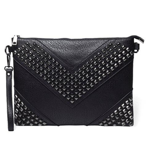 Stylish Rivets and Black Design Clutch Bag For Men - BLACK