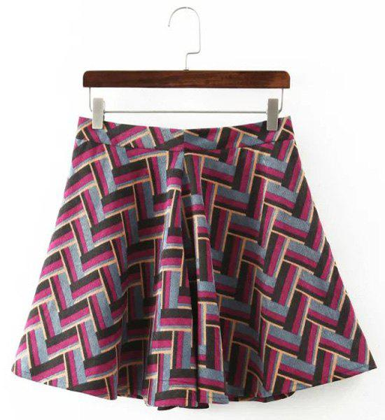 Sweet Zigzag Zippered Skirt For Women - PINK L