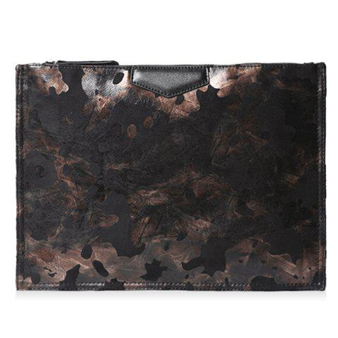 Stylish Print and Color Matching Design Clutch Bag For Men - BLACK