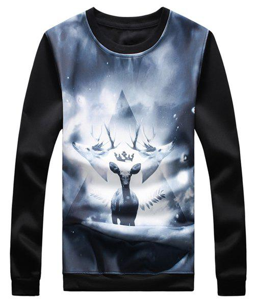 3D Elk Print Round Neck Long Sleeve Thicken Men's Sweatshirt - BLACK 3XL