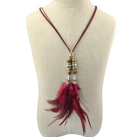 Graceful Beads Feather Pendant Sweater Chain For Women - RED